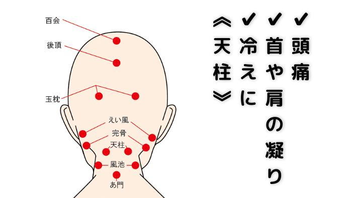 頭痛、首や肩の凝りや冷えに効果がある《天柱》(てんちゅう)